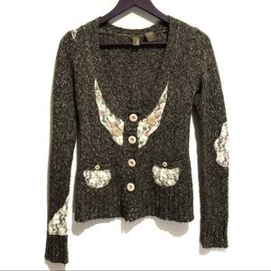 BKE Embroidered Lace Panel Cardigan